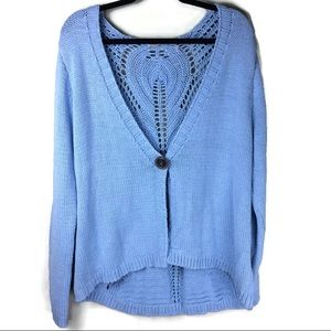 Soft Surroundings Boho Cardi Crochet Back Caridgan